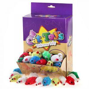 Chiwava 60 pièces10,4cm Fourrure Souris Jouet pour chat souris Lovely Petit Chaton Jeu interactif couleurs assorties de la marque Chiwava image 0 produit