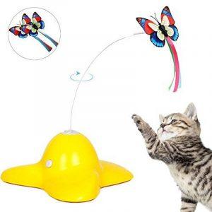 électrique rotatif Papillon jouet pour chat avec deux Papillons de remplacement clignotant Interactive jouet pour chat rotatifs pour chat Jouet de la marque Tacobear image 0 produit