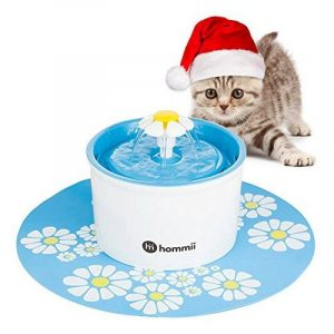 Hommii Fontaine à Fleur pour Chat Automatic Electric Flower 1.6 L Pet Water Fountain Drinking Bowl with mat Blue de la marque Hommii image 0 produit