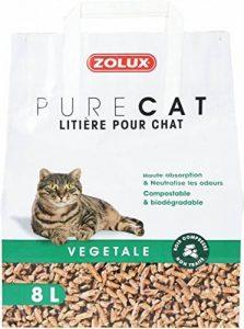 Litière pour chat PURE CAT végétale bois compressé non traité 8 L haute absorption, neutralise les odeurs de la marque Zolux image 0 produit