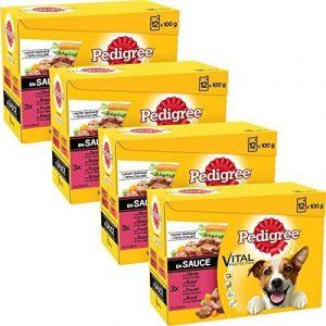 Pedigree Set de 4 x 12 Sachets Fraîcheur aux Viandes en Sauce pour Chien 100 g de la marque Pedigree image 0 produit