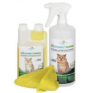 Produit Nettoyant et Eliminateur d'odeur Bio pour Chats Ecosharkz Animal - Spray désodorisant anti urine pour intérieurs avec chat et litière - Concentré de 500ml - jusqu'à 25L de solution nettoyante de la marque Ecosharkz image 0 produit