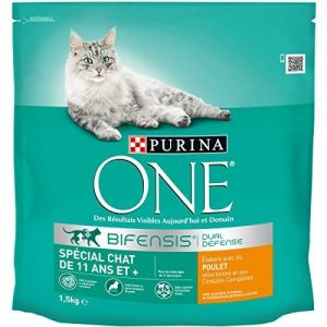 Purina One Spécial Chat de 11 ans et +-au Poulet et aux Céréales Complètes - 1,5kg - Croquettes pour Chat âgé de 11 ans et Plus - Lot de 6 de la marque Purina One image 0 produit