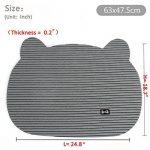 Tapis de bac à litière pour chat antidérapant, souple, chaton Tête de chien Tapis de bol de nourriture, Petit, gris de la marque BVOO image 1 produit