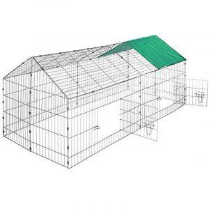 TecTake Cage enclos à lapin extérieur avec protection pare-soleil toit | LxlxH: 180 x 75 x 75 cm | Vert de la marque TecTake image 0 produit